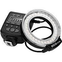 EECOO Luz de Relleno de Anillo de Contacto único, 32 LED de Alto Brillo y 8 Adaptadores de Diámetros Diferentes con Monitor LCD Adaptador de Control de Potencia Anillo Difusor de Flash de Cámara