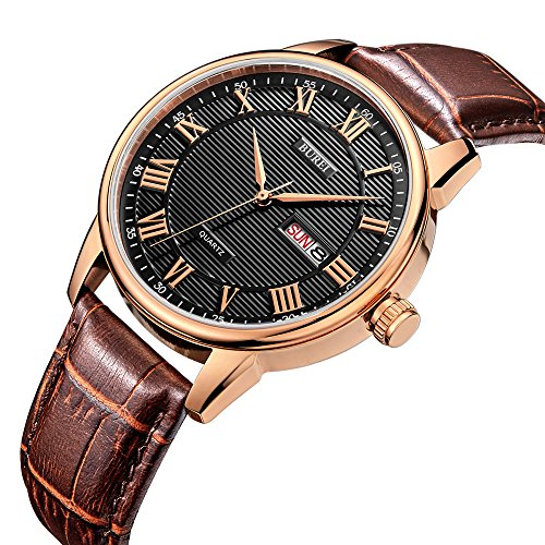 BUREI Men's Classic Quartz Wristwatch with Day Date Calendar Big Roman Numerals Black Texture Dial Design and Brown Leather (Mens Calendar Day Date Watch)