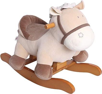 Stuffed Animal Rocker Toy Kid Rocking Horse//Rocker Animal//Toddler Rocking Horse//Plush Rocking Horse Figure Khaki Donkey Printed Wooden Rocking Horse for Kid 1-3 Years Labebe Child Rocking Horse Toy