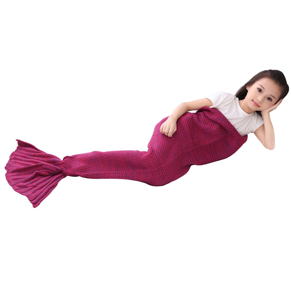 Roluck Mermaid Tail Blanket Handmade Warm Keeper Autumn Winter Blanket for Girls (Rose Red) by Roluck (Image #2)