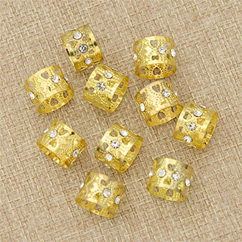 Golden Bling Crystal Hair Braids Heart Hollow out Metal Beads Hair Clips 10Pcs