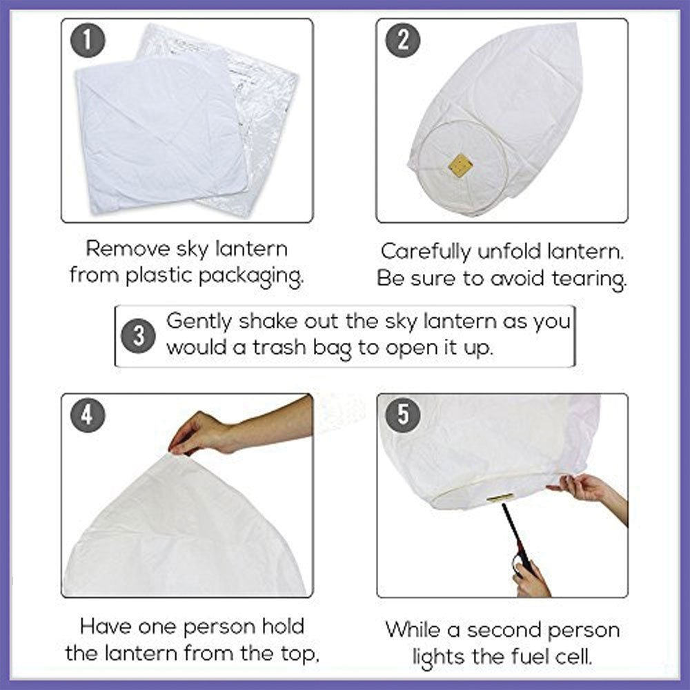 Just Artifacts 25 ECO Wire-Free Flying Chinese Sky Lanterns (Set of 25, Wire-free Eclipse, Purple) - 100% Biodegradable, Environmentally Friendly Lanterns! by Just Artifacts