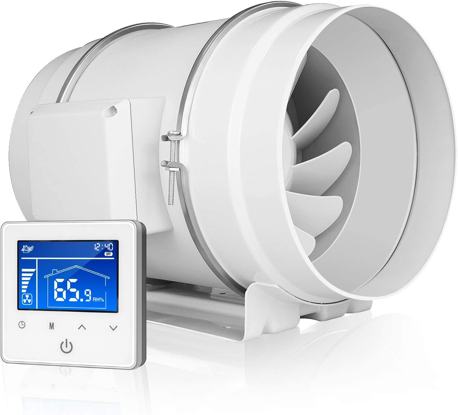 """iPower GLFANXINLINEPRO8 8 Inch 750 CFM Inline Duct Temperature Humidity Variable Speed Controller, Quiet HVAC Ventilation Exhaust Blower Fan, 8"""", White"""