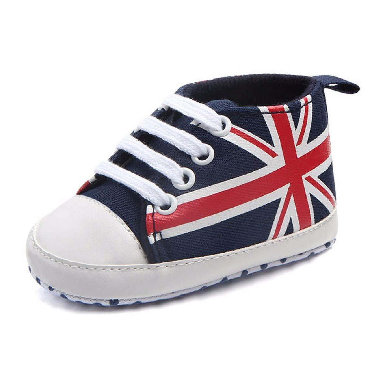 Newborn Canvas Shoes FAPIZI Infant Baby Union Jack Flag Print Canvas Anti-Slip Soft Shoes Sneaker Dark Blue
