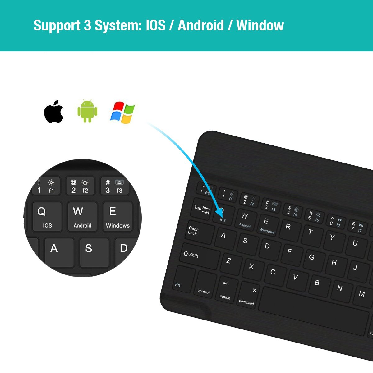 Universal Wireless Keyboard Backlit 7-Color Ultra Slim Portable Zinc Alloy Wireless Bluetooth 3.0 Keyboard for iOS iPad Pro, iPad Air, iPad Mini, Android, MacOS, Windows Tablets PC Smartphone by Smart Tech (Image #3)