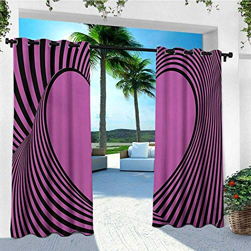 leinuoyi Pink Zebra, Outdoor Curtain Wall, Heart Shape with Twisting Lines Happiness Love Valentines Day Themed Stripes, for Gazebo W84 x L96 Inch Fuchsia Black
