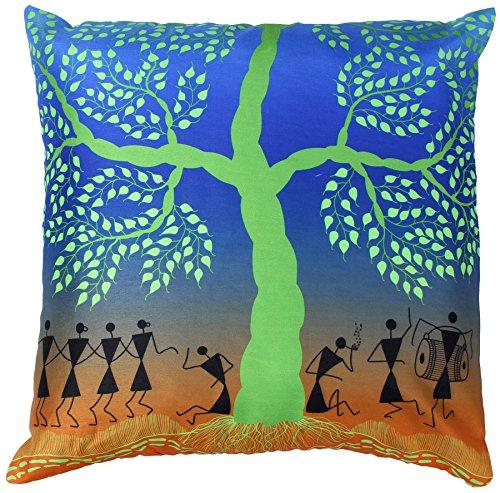 Throw Pillow Covers - Decorative 18x18 Inch Cushion Cover with Zipper - Blue Green Faux Silk Pillowcase - Living Room Decor - Throw Pillows Case Cover