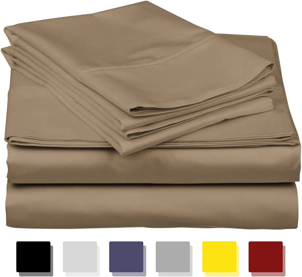 600 Thread Count Best 100% Egyptian Cotton Sheets & Pillowcases Set-4 Pc Taupe Long-Staple Combed Cotton Bedding Full Sheet for Bed, Fits Mattress Upto 18'' Deep Pocket, Soft & Silky Sateen Weave.