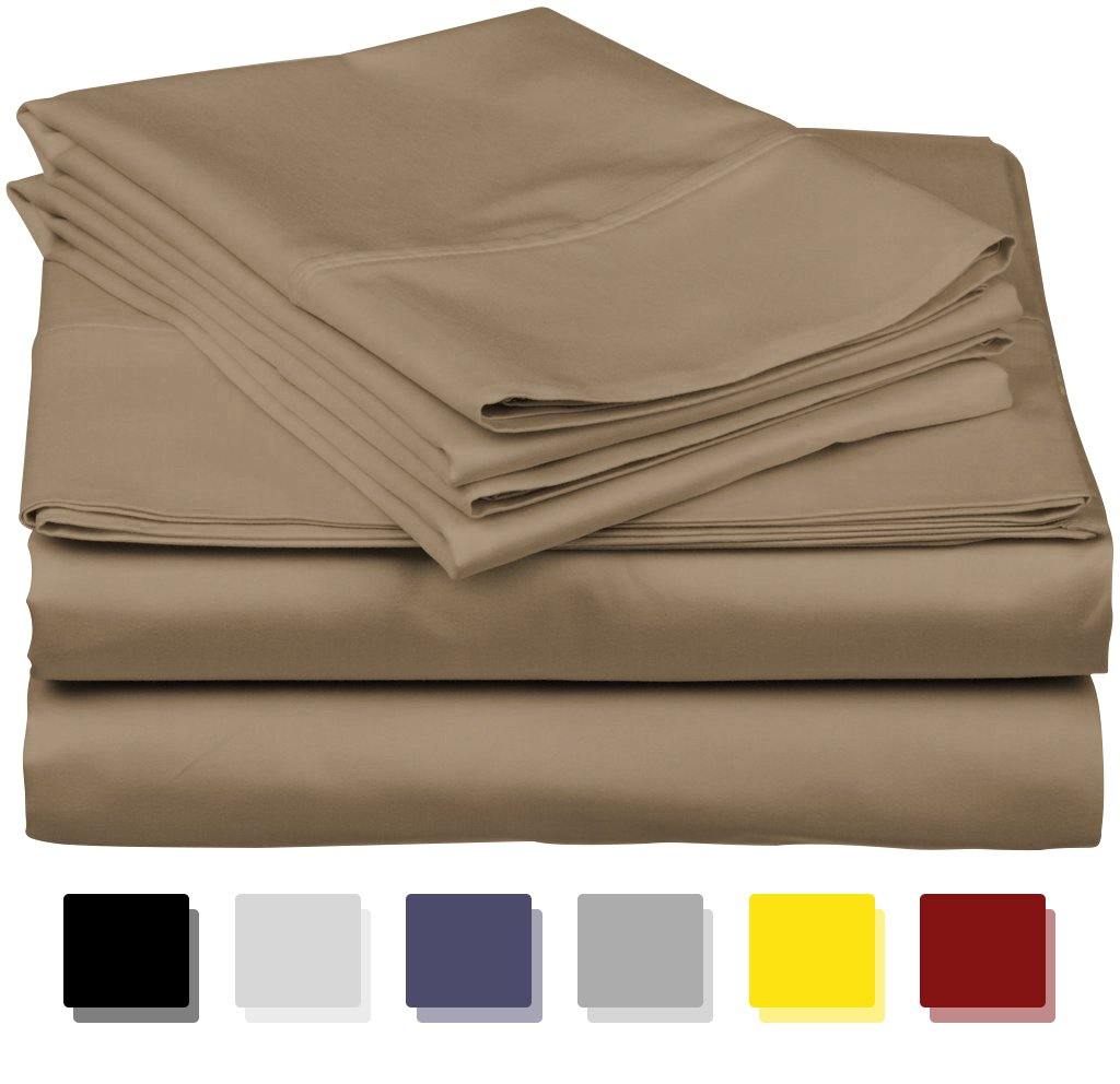 800 Thread Count 100% Egyptain Cotton Sheet Twin Taupe Sheets Set, 4-Piece Long-staple Combed Pure Cotton Best Sheets For Bed, Breathable, Soft & Silky Sateen Weave Fits Mattress Upto 18'' Deep Pocket