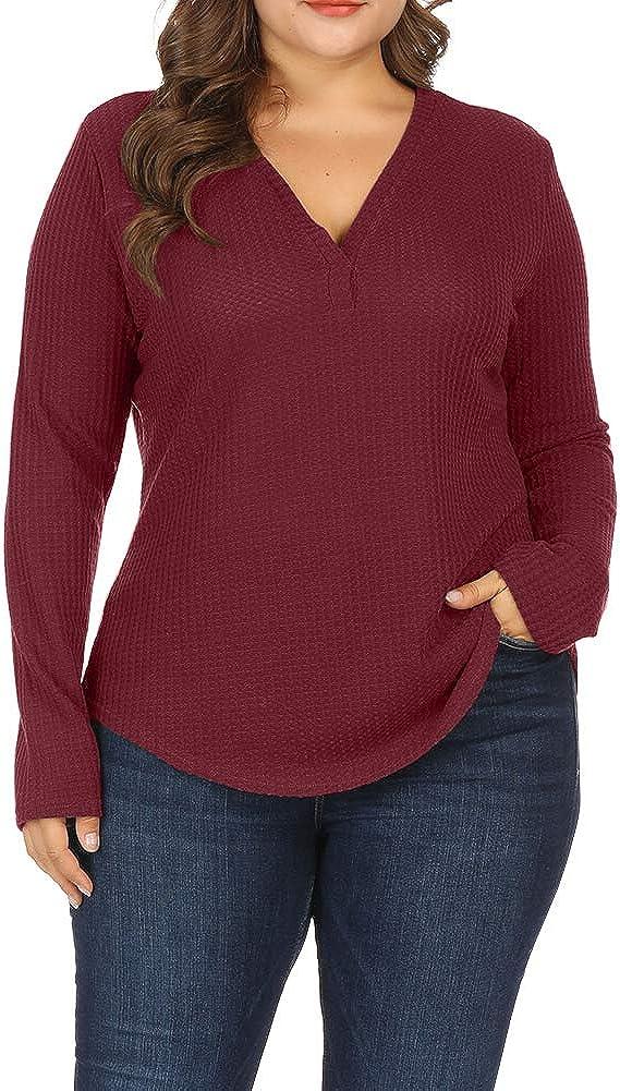 Allegrace Women Plus Size Knitwear Lightweight Sweaters Top Long Sleeve Pullover Shirts