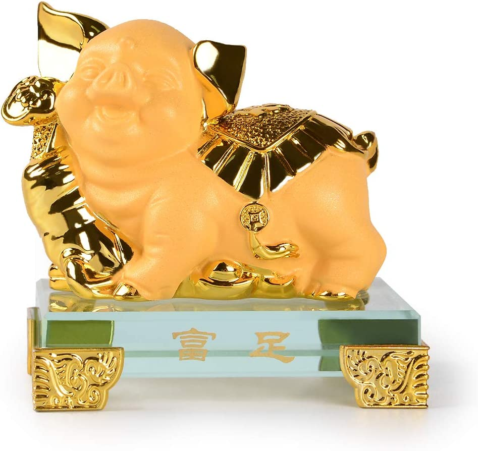 PopTop Brass Golden Resin Feng Shui Statue Pig Chinese Zodiac Home Office Table Top Decor Figurine Gift Collection PTZY111
