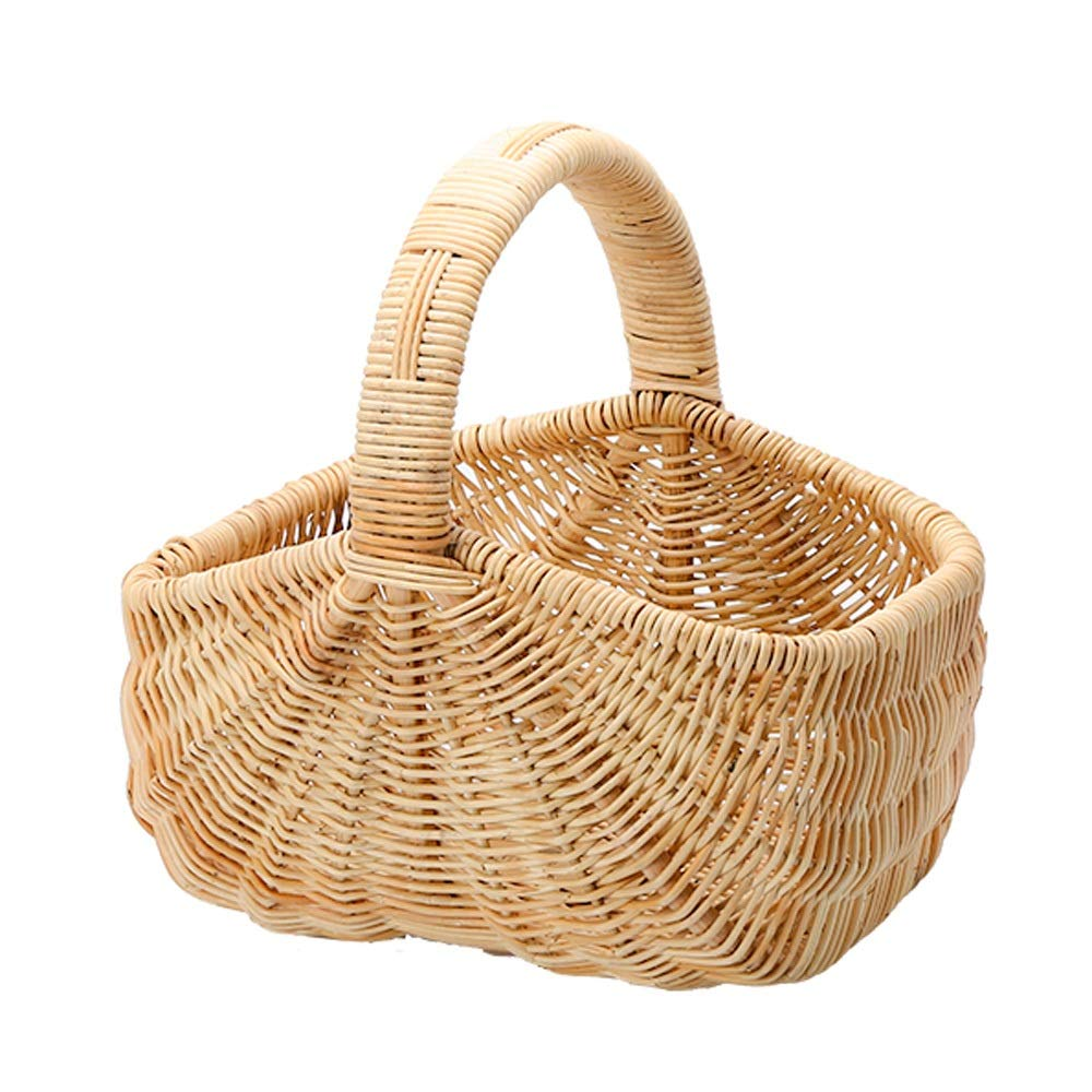 Byx- Picnic Basket - Pastoral Rattan Picnic Basket Outdoor Creative Fruit Bread Basket Desktop Storage Basket Hand-Woven (3 Size) -Picnic Baskets (Size : 44x35x19cm)