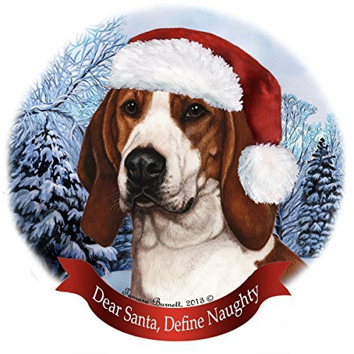 Holiday Pet Gifts Treeing Walker Coonhound Santa Hat Dog Porcelain Christmas Tree Ornament (Coonhound Ornament)