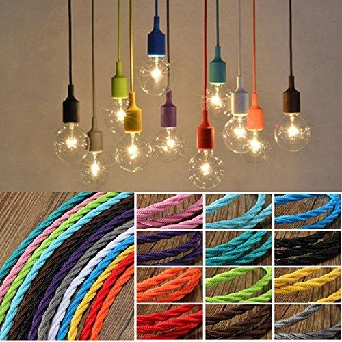 Electric Gauge Sunglasses (3m Vintage Colored DIY Twist Braided Fabric Flex Cable Wire Cord Electric Light Lamp (Random: Color))