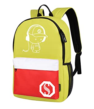 ... Mochilas Antirrobo Instituto Chicas Niño Niñas Universidad Casual Mochila Ordenador Portatil PC Backpack Chulas Amarillo Medio: Amazon.es: Equipaje