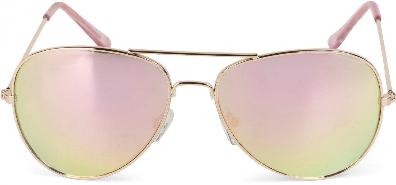 styleBREAKER Kinder Pilotenbrille mit Edelstahl Metall Gestell, Sonnenbrille, Unisex 09020059, Farbe:Gestell Gold / Glas Pink verspiegelt