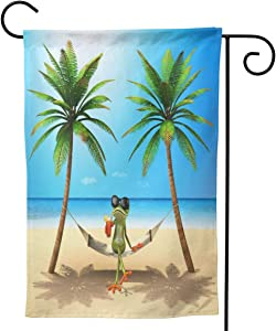 Delerain Frog Garden Flag, 12.5 x 18 Inch Double Sided Design Weather Resistant Indoor & Outdoor Decoration Small Banner for Home Yard Lawn Patio Office