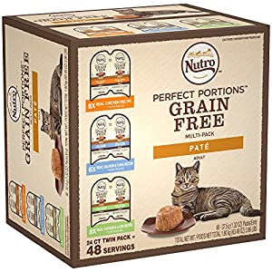 NUTRO PERFECT PORTIONS Grain Free Natural Adult Wet Cat Food Paté Real Chicken, Real Salmon & Tuna, and Real Chicken & Liver Recipes Variety Pack, (24) 2.6 oz. Twin-Pack Trays 87