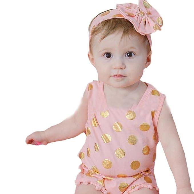ecosin® Bebé infantil niñas Pelele de pan de volantes trajes mono + 1pc Hairband - Beige - : Amazon.es: Ropa y accesorios