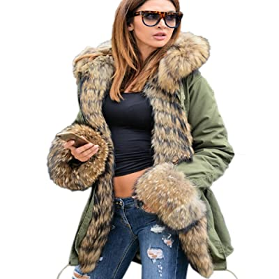 Aofur Womens Hooded Faux Fur Lined Warm Coats Parkas Anoraks Outwear Winter Long Jackets: Clothing