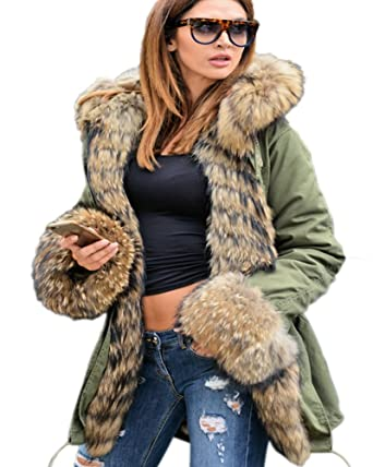 30f45005aad5 Aofur Womens Hooded Faux Fur Lined Warm Coats Parkas Anoraks Outwear Winter  Long Jackets (Small