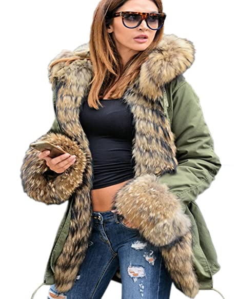 Official Website enjoy cheap price top-rated fashion Aofur Womens Hooded Faux Fur Lined Warm Coats Parkas Anoraks Outwear Winter  Long Jackets
