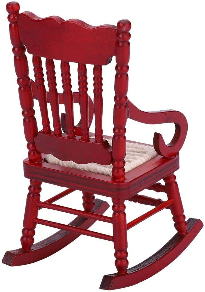 #2 Jadpes Dollhouse Small RoMiniature Dollhouse Vi Weaving Rocking Chair for Dolls House Accessories Decor Toys