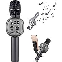 Beschoi Micrófono Karaoke Bluetooth Portátil con Altavoz Incorporado y LED Luz de Color y Soporte para KTV Cantar Niños Compatible con iPhone Android PC AUX TF Card Memoria USB - Gris
