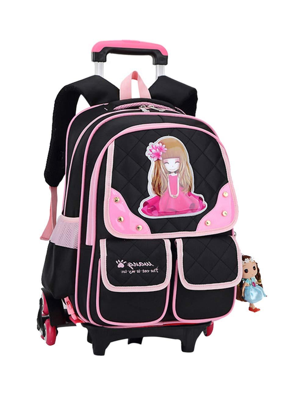 3025  Black One_Size Backpack Shoulder Bag Trolley School Bag Travel Bag Rucksack Kid Teenager Zhhmeiruian