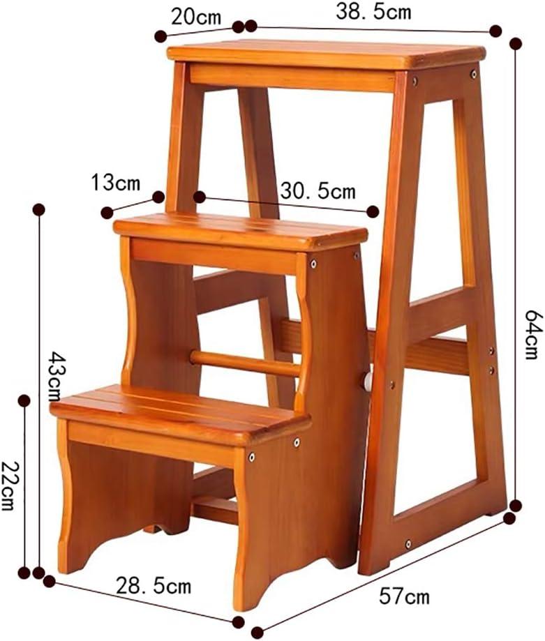 LXF Escaleras plegables Escalera de madera del tirón del hogar, escalera ancha multifuncional del pedal, taburete de 3 pasos para la cocina, antideslizante: Amazon.es: Bricolaje y herramientas