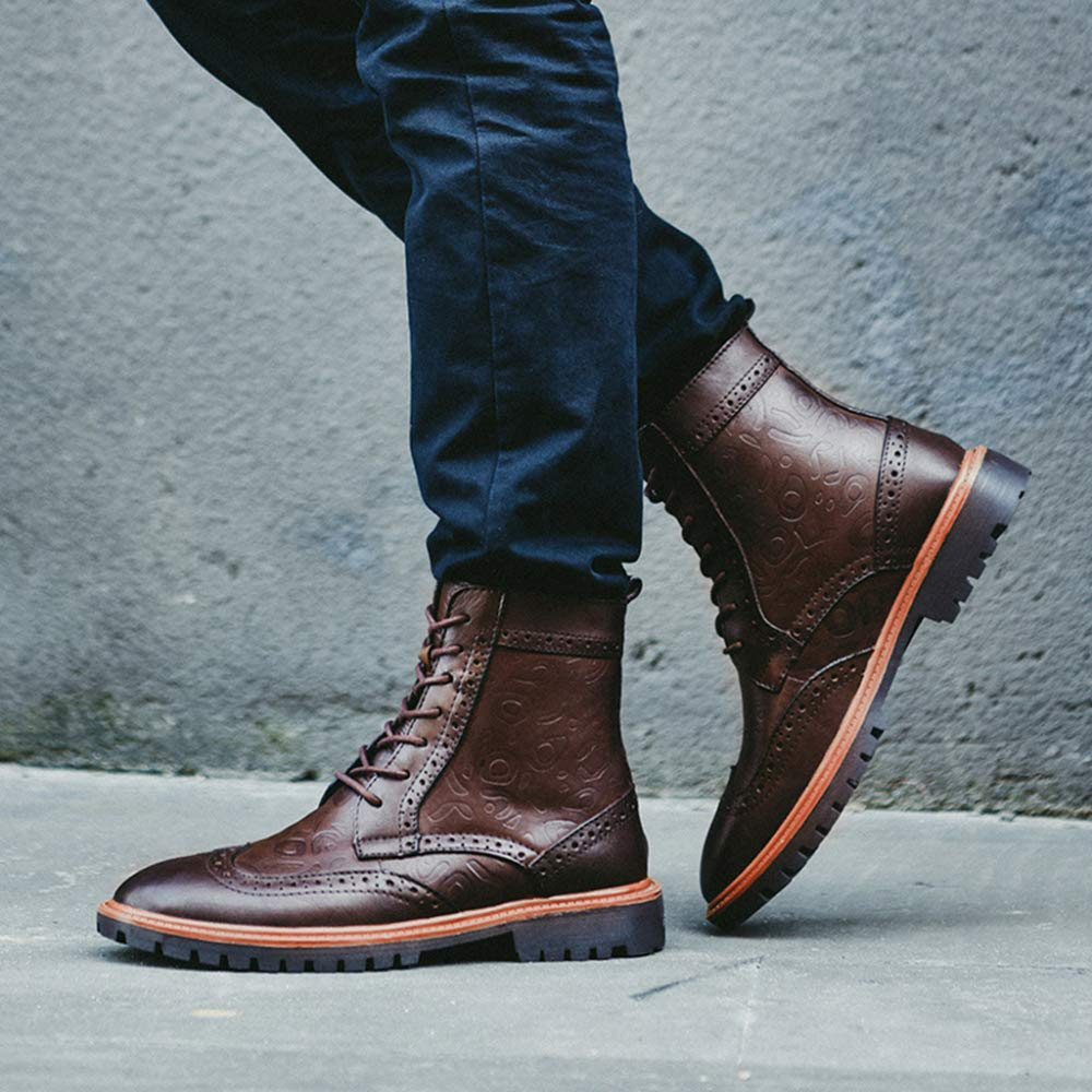 Yra Herren Stiefel Large Size High Tops Echtes Leder Martin Muster Stiefel Kleid Schuhe Brogue Muster Martin Chelsea Boots Lace Ups Desert Boots Brown 1a5ded