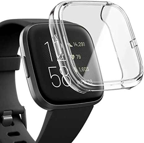 Clear Case Tempered Glass Screen Protector for Fitbit Versa 2 Watch Cases, amBand Glass Protective Dial Effective Touchscreen Cover Overall Cases Flexibly Only for Versa 2 Transparent