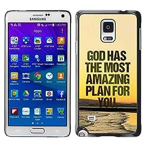 PC/Aluminum Funda Carcasa protectora para Samsung Galaxy Note 4 SM-N910F SM-N910K SM-N910C SM-N910W8 SM-N910U SM-N910 BIBLE God Has The Most Amazing Plan For You / JUSTGO PHONE PROTECTOR