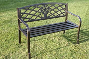 Olive Grove Metal Garden Bench With Cast Iron Floral Pattern