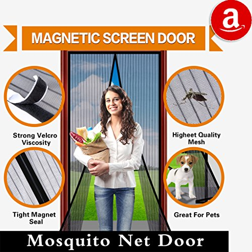 Magnetic Screen Door  Curtain Full Frame Velcro Mosquito Net,Close Automatically Tightly Keep Bugs Out,Lets Fresh Air In,Toddler And Pet Friendly (36x83 - Fits doors up to 34x82 Max)