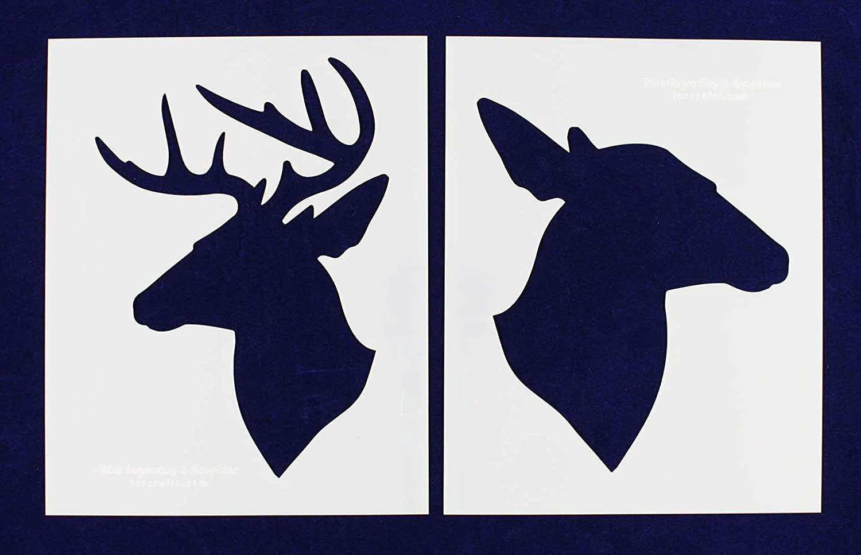 amazon com buck doe deer head stencils mylar 2 pieces of 14 mil