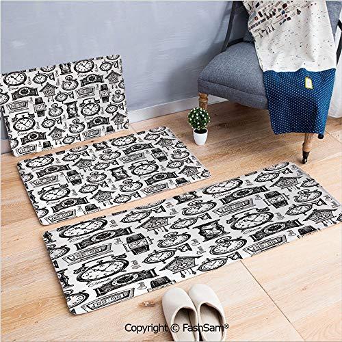 FashSam 3 Piece Non Slip Flannel Door Mat Hand Drawn Clocks and Watches Illustration Vintage Decorative Pattern Indoor Carpet for Bath Kitchen(W15.7xL23.6 by W19.6xL31.5 by W31.4xL47.2)