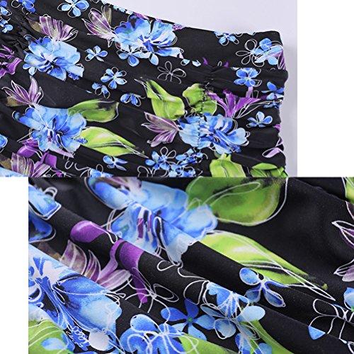 Zhhlinyuan Women Sporty Tankini nadando Romantic Flowers Print Bikini Swimwear Black&Blue