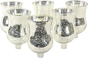 Koyal Wholesale Candelabra Hurricane Glass Shades, Bulk Set of 6 Peg Votive Holders (Antique Silver, 3.5-Inch)