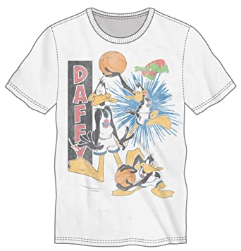 38a5fa23 Warner Bros Space Jam Daffy Character Shirt, Action Sequence Basketball,  White T-Shirt