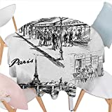 BlountDecor Eiffel Tower Dinner Picnic Round Table Cloth Paris Sketch Style Cafe Restaurant Landmark Canal Boat Lantern Retro Print Waterproof Round Table Cover for Kitchen D50 Black White