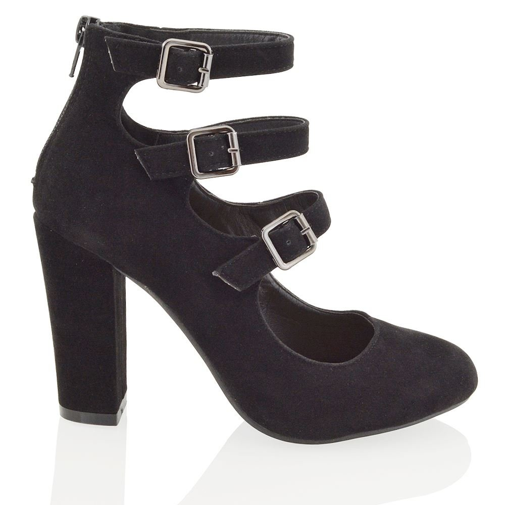 ESSEX GLAM Womens Block Heel Buckle Straps Ladies Evening Party Court Shoes  Boots: Amazon.co.uk: Shoes & Bags