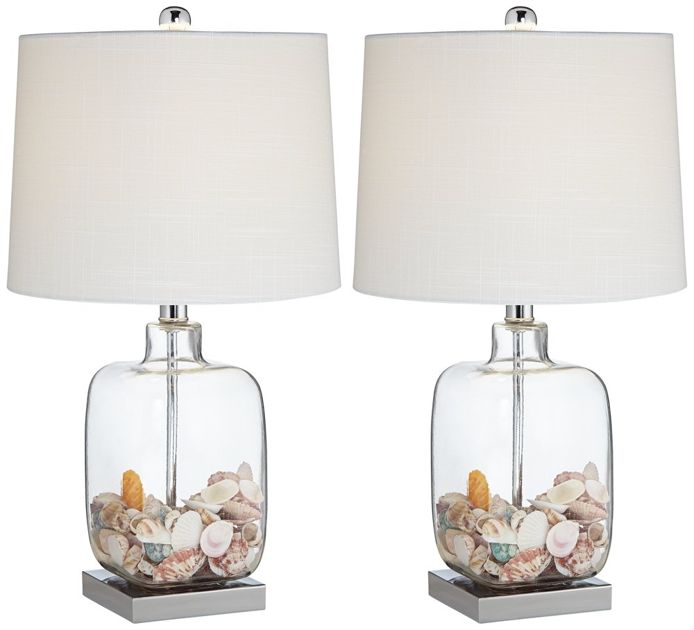 Square Glass Fillable Table Lamp Set of 2 by 360 Lighting