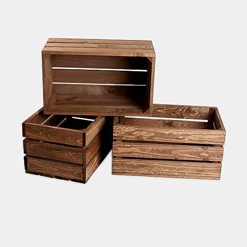 rebajas ofertas lote conjunto Pack 3 cajas madera tono envejecido ...