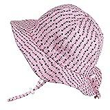 Baby Girl Vintage Bonnet Sun Hat 50 UPF, Adjustable, Breathable, Stay-On Tie (S: 0-9m, Floppy Hat: Ladybug)