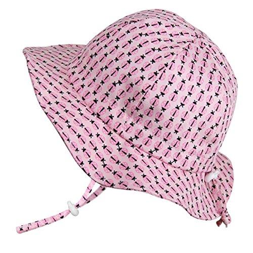 Toddler Child Breathable Sun Hats 50 UPF, Drawstring Adjustable, with Chin-Strap (M: 6-30m, Floppy Hat: Ladybug)