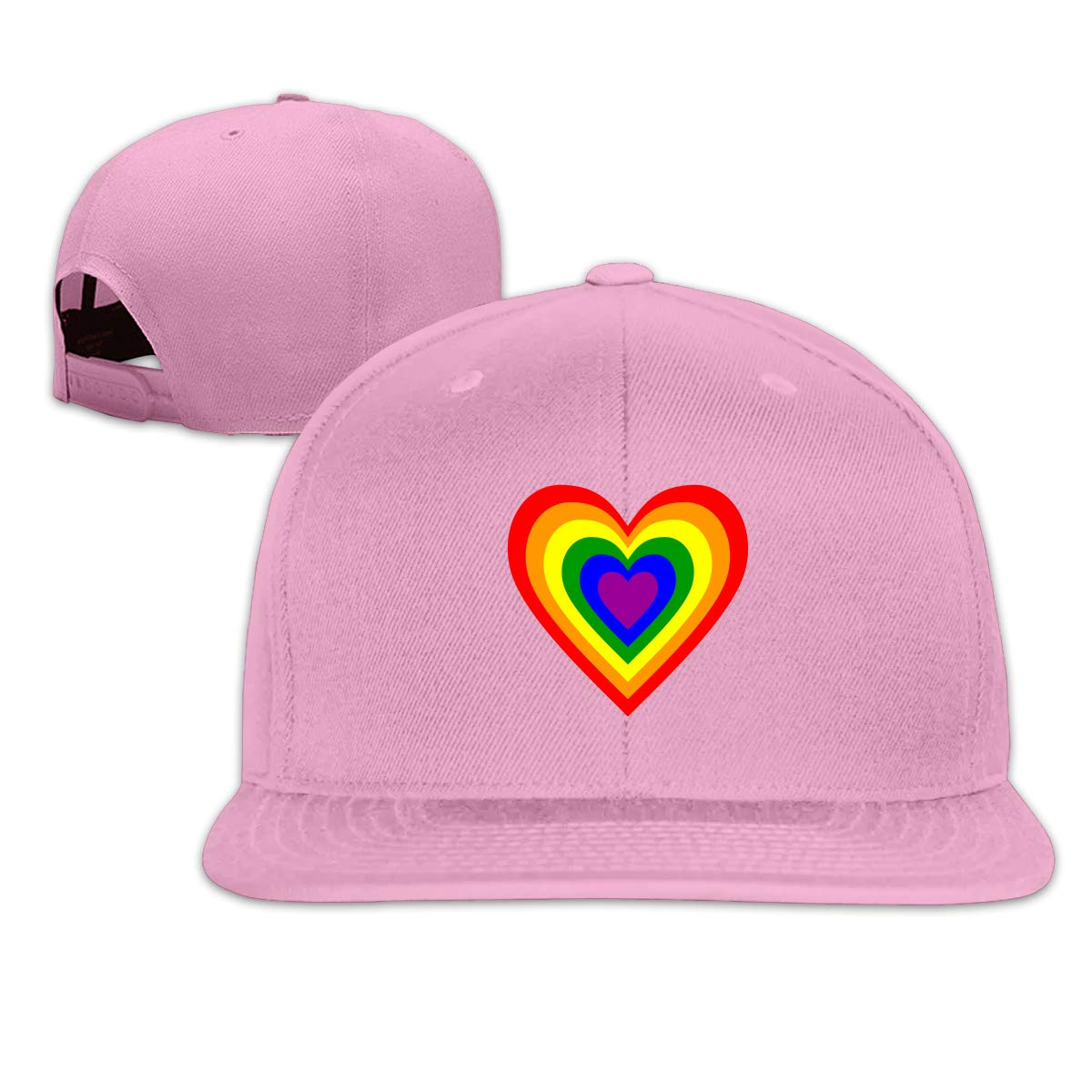 MOCSTONE Unisex Snapback Hat LGBT Rainbow Heart Adjustable Baseball Cap