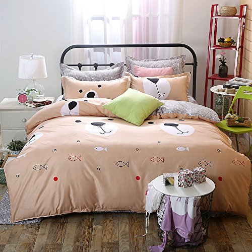 Cheap Kids/Adults 4pcs Beddingset Duvet Cover Top Sheet Pillowcase MX Twin Full Queen bird life Design (Full, Bear Garden, Yellow) for sale