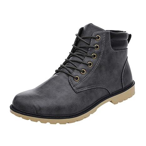 WWricotta Zapatillas Casual Hombres Botas Cómodas Calzado Bajas Transpirables Andar Zapatos Planos Bambas con Cordones