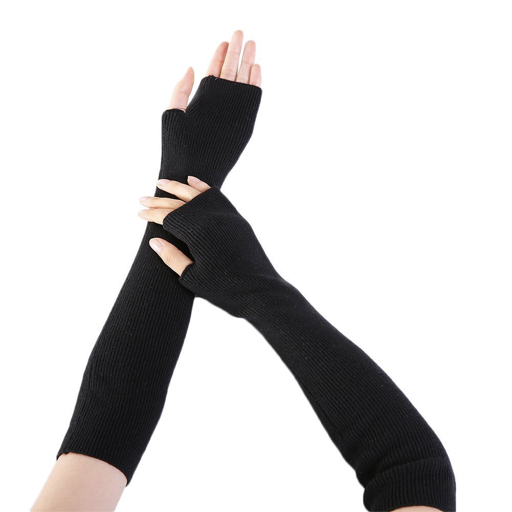 BAOBAO Women's Long Fingless Wollen Gloves Korean Style Soft Warm Arm Sleeves
